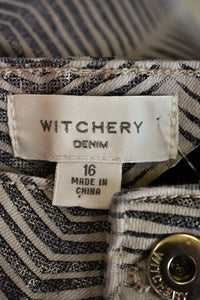 Witchery patterned grey/silver pants, size 16