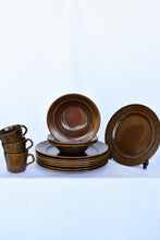 Load image into Gallery viewer, Crown Lynn Ironstone brown 14 piece set - pick up only