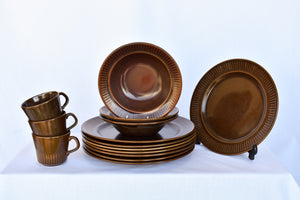 Crown Lynn Ironstone brown 14 piece set - pick up only