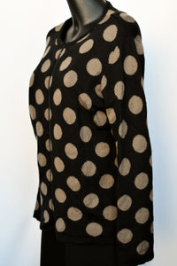 Xquisite polka dot zip up cardy, size L