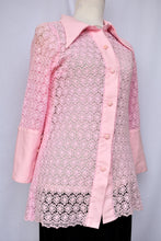Load image into Gallery viewer, Pink crochet button up shirt, size S