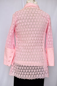 Pink crochet button up shirt, size S