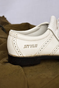 NZ Made Stylo white golf shoes, size 5