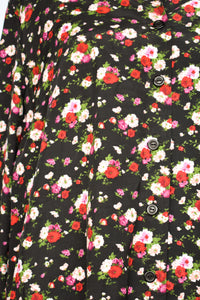 Black and floral button up shirt, size M