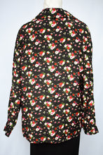 Load image into Gallery viewer, Black and floral button up shirt, size M