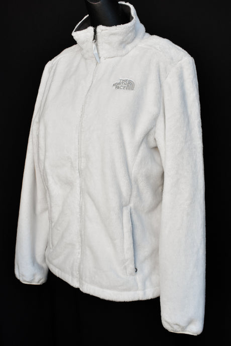 The North Face white fluffy zip up fleece, size M