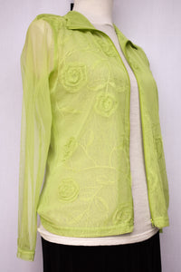 Development green sheer zip up top, size 10