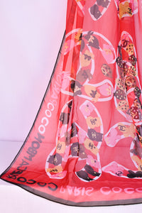 Chanel hot pink replica silk scarf