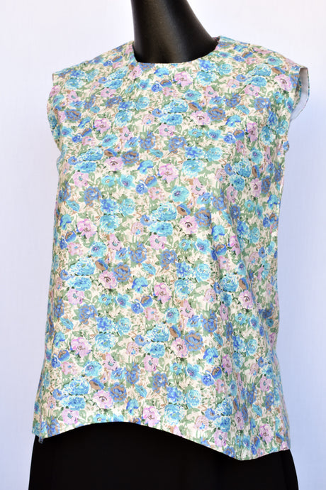 Sleeveless handmade floral top, size S