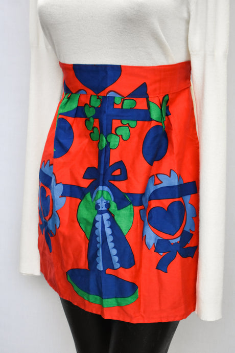 Retro red and blue bold pattern apron