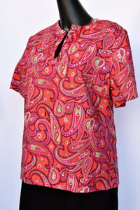 Cotton pink and red paisley tee, size S-M