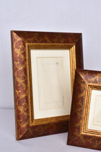 Load image into Gallery viewer, 2x maroon and gold photo frames