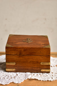 Wooden card box with anchor embellished