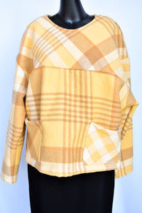 Homemade yellow and brown NZ wool blanket jumper, size M