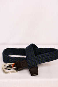 Navy and green cloth woven belt, 100cm