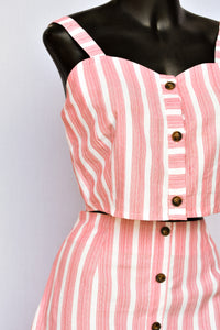 Red and white stripe top and skirt - 2 piece set, size S
