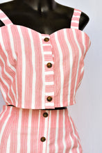 Load image into Gallery viewer, Red and white stripe top and skirt - 2 piece set, size S
