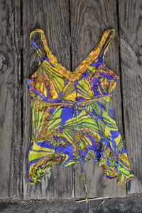 'Little Buddha' patterned sheer top, size L