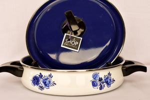 Enamel ware blue and white casserole dish