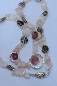 Pale pink beaded necklace