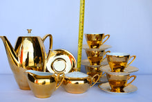 Load image into Gallery viewer, Westminster China gold 60's coffee set - pick up only