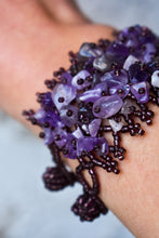 Load image into Gallery viewer, Purple beaded and gemstone cuff