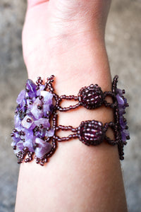 Purple beaded and gemstone cuff