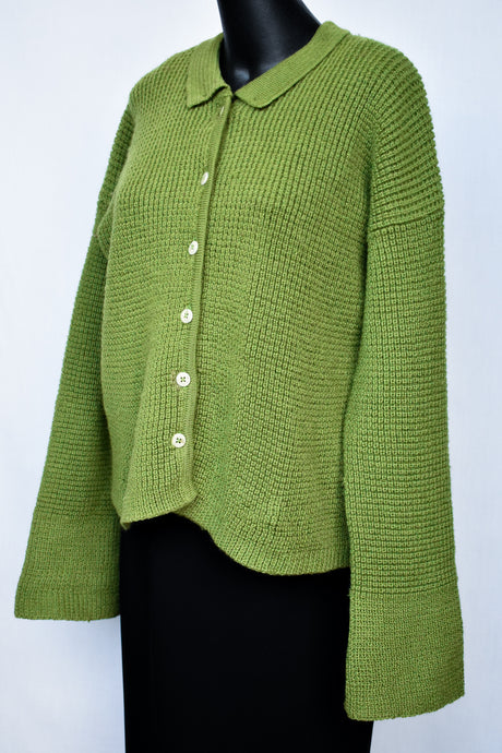 Green wool button up cardigan, size S