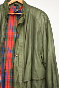 Green leather NZ made jacket with tartan lining, size M