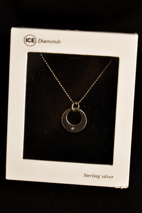ICE Sterling silver necklace and diamond pendant