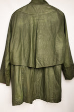 Load image into Gallery viewer, Green leather NZ made jacket with tartan lining, size M