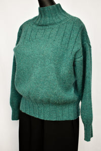 Teal high neck wool jersey, size S