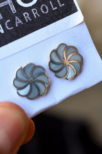 Retro style shades of blue stud earrings