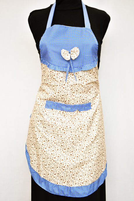 Blue check and brown floral apron