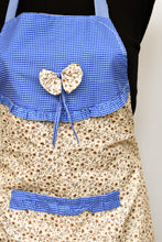 Load image into Gallery viewer, Blue check and brown floral apron