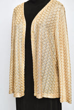 Load image into Gallery viewer, Beige/gold crochet cardy, size 14