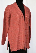 Load image into Gallery viewer, Deep pink and grey button up cardy, size L