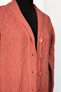 Deep pink and grey button up cardy, size L