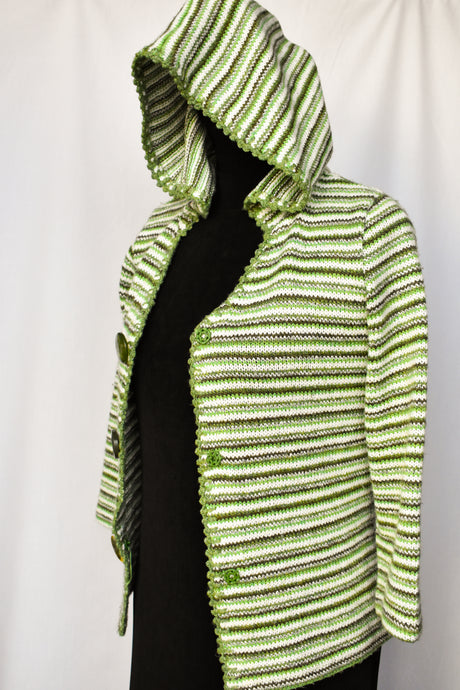 Stripy green jersey with hood, size S