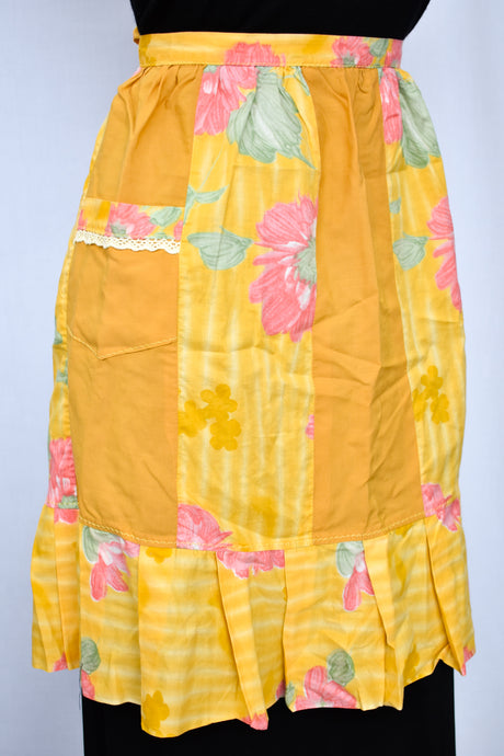 Yellow with pink flowers half apron