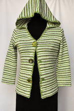 Load image into Gallery viewer, Stripy green jersey with hood, size S