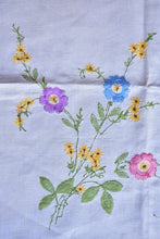 Load image into Gallery viewer, Irish Linen tablecloth with embroidered flowers