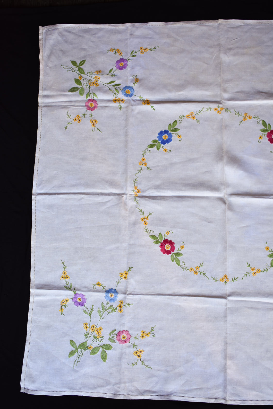 Irish Linen tablecloth with embroidered flowers