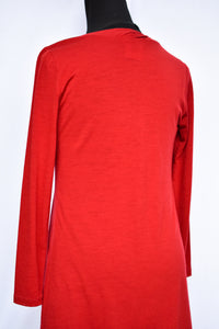 Red merino wool dress, size 10