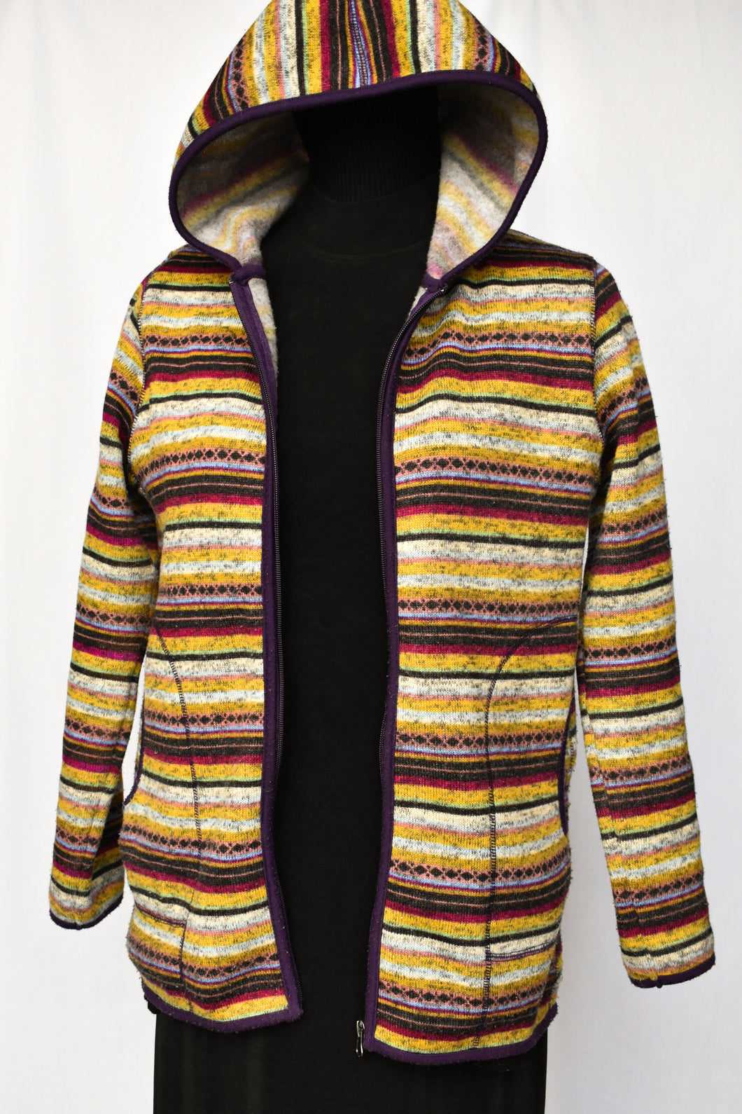 Multi coloured striped hoody, size M