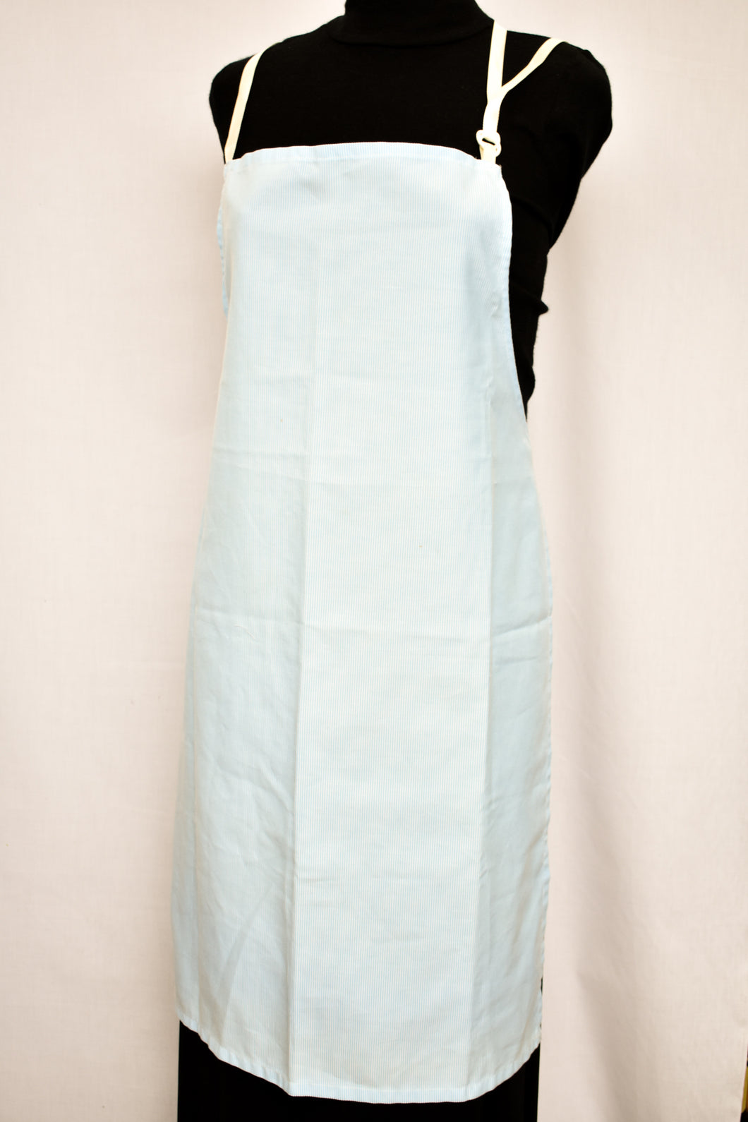 Blue and white fine pinstriped apron
