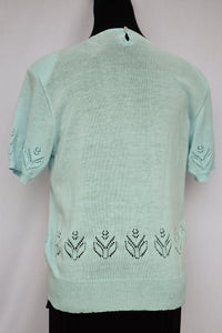 Retro style blue knit tee, size S