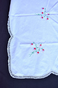 White tablecloth with floral embroidery
