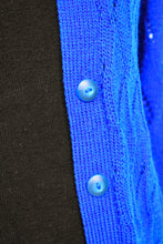 Load image into Gallery viewer, Cobalt blue wool cardy, size S