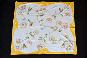 Yellow and white floral retro tablecloth